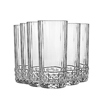 Bormioli Rocco 6 Piece America '20s Whisky Glasses Set - Vintage Art Deco Scotch Whiskey Tumblers - 480ml