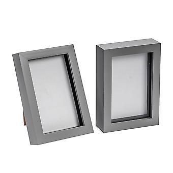 Nicola Spring Photo Frame - Acryl Box Frame (Glass Cover) - 4x6in - Grijs - Pack van 2