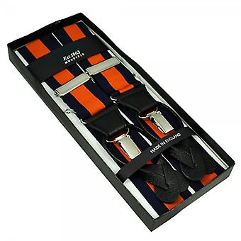 Ties Planet Navy Blue & Orange Striped Trouser Braces (with Black Leather Dual 2 In 1 Button And Clip Attachment)