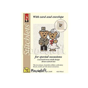Bride & Groom Wedding Bears Stitchlets Counted Cross Stitch Card Making Kit