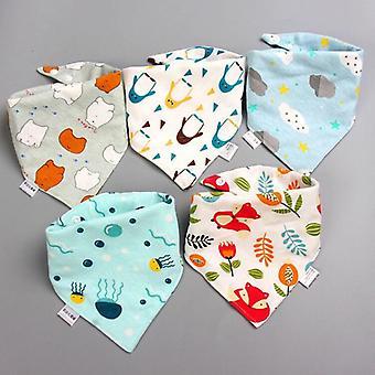5pcs/set Baby Bibs, Triangle Double Cotton Bandana Bibs- Baby Boys / Filles