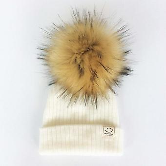 Winter Baby Artificial Pompom Knitted Hat, Toddler Kids Caps