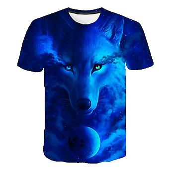 Kids 3d Wolf Cool T-shirt, Summer Fashion, Short Sleeve Tops, Set-2