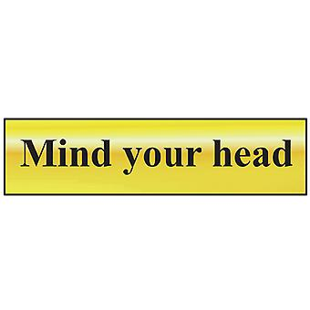 Scan Mind Your Head - Polished Brass Effect 200 x 50mm SCA6030