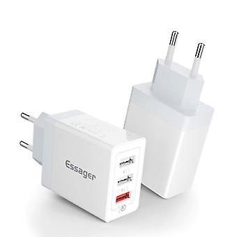 Essager 3x Port Triple USB Plug Charger 30W - Quick Charge 3.0 Wall Charger Wallcharger AC Home Charger Adapter White