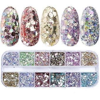 Nail Mermaid Glitter Flakes - Sparkly 3d Hexagon Colorful Sequins Spangles