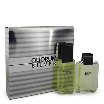 Quorum Silver By Puig Gift Set -- 3.4 Oz Eau De Toilette Spray + 3.4 Oz After Shave (men) V728-500329