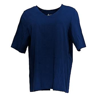 Denim & Co. Women's Top V-Neck W/ Short Sleeves Blue A346690