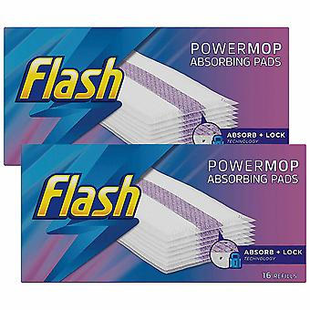 Recharges flash Powermop Absorbing Multi-Surface Pads, Pack de 2, 16 Recharges