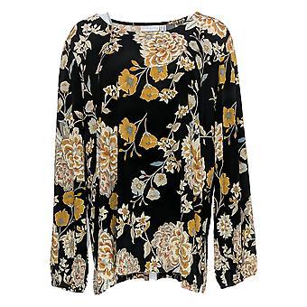 Susan Graver Women's Top Floral Print Blouson Sleeve Black A366140