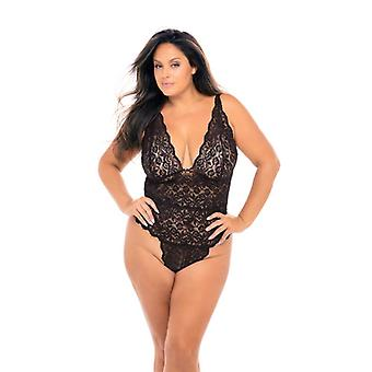 Black Lace Body With Cleavage - Curvy
