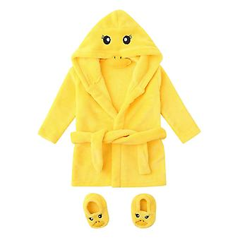 Cute Yellow Duck Infant Baby Cartoon Flannel Bathrobes Hoodie