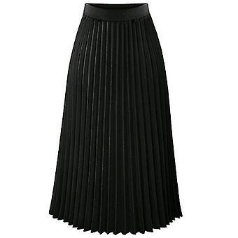 Women's Summer Pleated Chiffon Elastic Waist Double Layer Long Midi Skirt