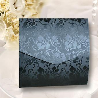 10 Invitations black broderie square wedding pocketfold
