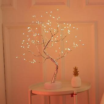 Led Usb Table Lamp, Copper Wire, Christmas Fire Tree Night Light, Home Desktop
