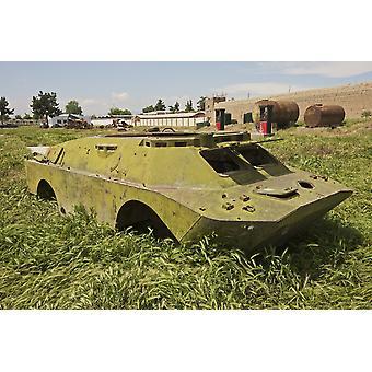 Valvonta-autot-2 Combat ReconnaissancePatrol ajoneuvo seisoo armor romukauppaan Kunduzin Afganistanin valvonta-autot-2 on amfibioajoneuvot panssaroitu poliisiauto Venäjän ja entisen Neuvostoliiton Juliste Tulosta