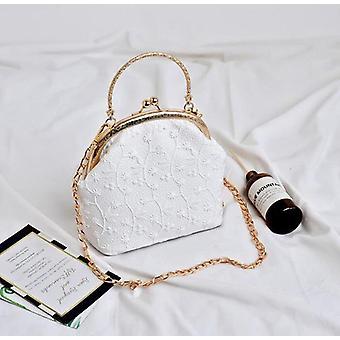 Mini Shell, Chain Clip Shoulder Bag- Natural Straw, Summer Beach, Tote Bag