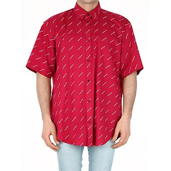 Balenciaga 534332tbl965615 Men's Red Cotton Shirt