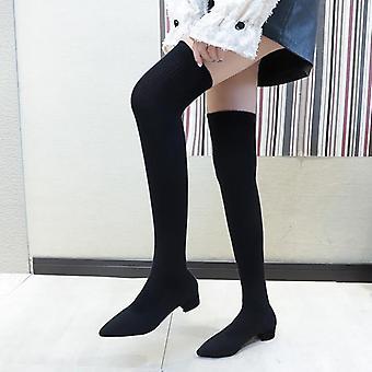 Frauen Elastisch über dem Knie lang Sexy Pointed Toe Ferse Damen Oberschenkel hohe Stiefel