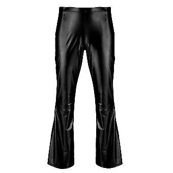 Adulti Masculin Mens Shiny Pantaloni Metalic Disco cu fund Bell, Flazat Lung Pant,