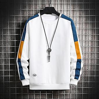 Long Sleeve Sweatshirts, Men Hoodie, Casual O-neck Patchwork Sweatshirt