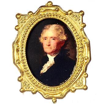 Dolls House Thomas Jefferson Retrato Em Quadro Oval Ornamentado Imagem presidente