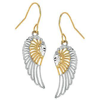 10k 2 Tone geel en wit goud diamant engel geslepen vleugels Drop Oorbellen