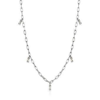 Ania Haie Argent Rhodium Plaqué Glow Drop Necklace N018-02H