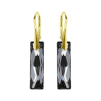 Oorbellen conoció a Swarovski Kristallen Black Silver - Zilver Goudkleuring
