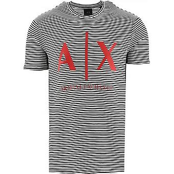 Armani Exchange Blanc Logo Striped Tee