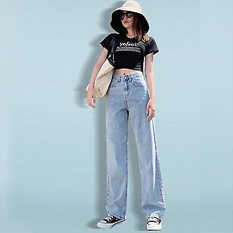 Femei Jeans Pantaloni Leisure Loose High Talie Vintage Wide Leg Coreeană Stil Simplu