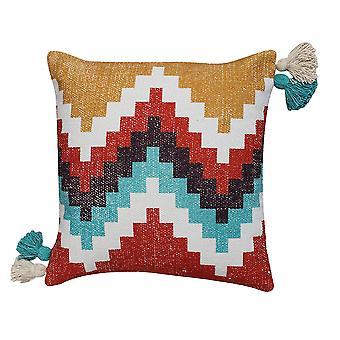 18 X 18 Cotton Hand Woven Dhurri Pillow With Kilim Print, Multicolor