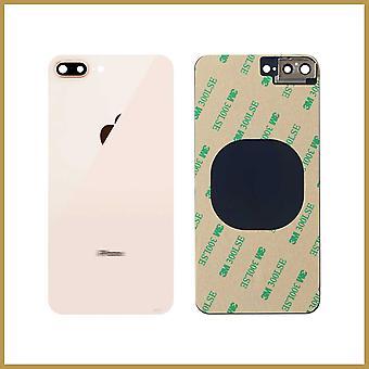 Til iPhone 8 Plus bagglas batteri bagcover boliger udskiftning med kameralinse Guld