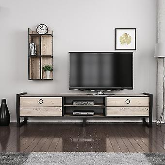Møbel-tv-port Sena Color Wood, Sort i MDF, Metal, L184xP39xA45 cm, Ben 13 cm, L32xP22xA72 cm