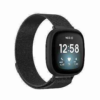 """Voor Fitbit Versa 3 / Sense Strap Milanese polsband roestvrij staal magnetisch[Large (6.7""""-9.3""""),Zwart]"""