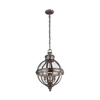 Lámpara Colgante Adams, Níquel Antiguo, 3 Bombillas