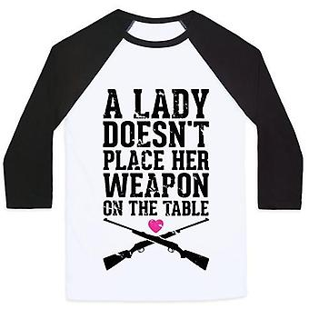 A lady doesn't place her weapon on the table unisex classic baseball tee