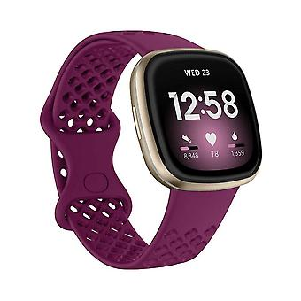 voor Fitbit Versa 3 / Sense Replacement Band Strap Silicone Bracelet Wristband[Small,Red Wine]