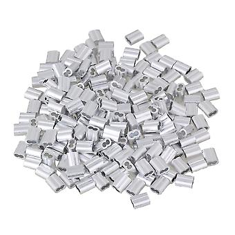 200 Pieces 0.2cm Wire Rope Crimping Double Holes Aluminum Sleeves Clip M2