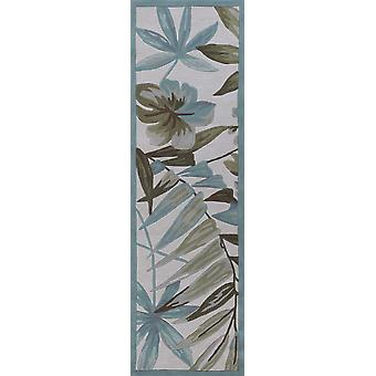 2' x 7' Ivory Tropical Leaves Runner Rug