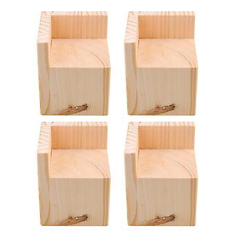 4x Wood Home Furniture Riser Bed Lifters 7x7CM Feet 8CM Lift Height