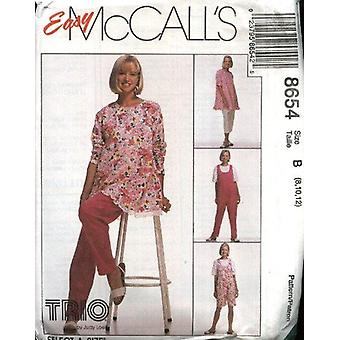 McCalls نمط الخياطة 8654 يفتقد الأمومة Tunic jumpsuit السراويل حجم 8-12 Uncut