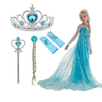 New elsa costume cosplay fancy dress and accessories set for girls