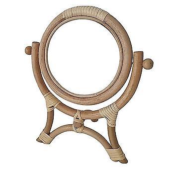 الروطان مبتكرة الديكور الفن جولة ماكياج مرآة خلع الملابس جدار الحمام شنق الروطان خلع الملابس الجدول ماكياج مرآة
