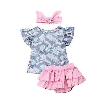 Newborn Outfits-set, Pink Headband Sleeveless Tops