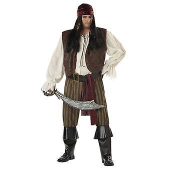 Mens Rogue Pirate Plus Halloween Fancy Dress Costume
