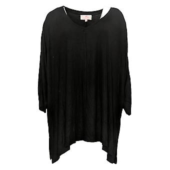 Laurie Felt Women's Top Plus Fuse Modal Ribbed Knit Pullover Black A392627