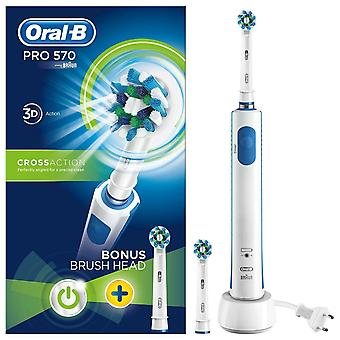 Brosse à dents électrique Oral-B Power Pro 570 3D Cross Action + Brosse supplémentaire