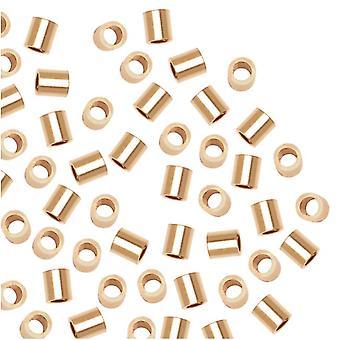 """חרוזי קראמפ, 2x2 מ""""מ, 20 חלקים, מצופה זהב 14K"""