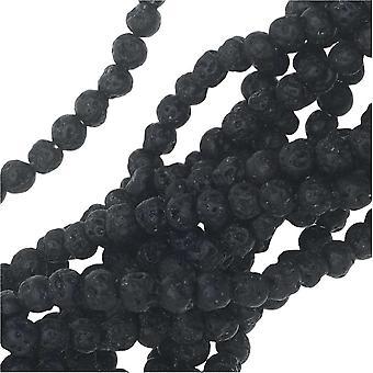Jalokivihelmät, Laava, Pyöreä 4mm, 15,25 Tuuman säie, Musta